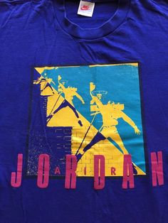 df5fa2ddf57eec Vtg Nike Air Michael Jordan Basketball Tee Shirt Dunk OG 90 s Purple Sz M   MichaelJordan