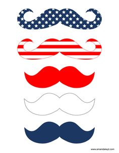 Freebies- www.amandakeyt.com/freebies DIY Photo Booth Props! Just print, cut, glue to sticks and strike a pose!  Enjoy Life! American Flag Mustaches, Red White and Blue 4th of July! Buy the app!