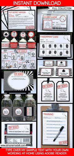 Spy Party Invitations & Decorations - Secret Agent Party - Printable Collection - INSTANT DOWNLOAD - EDITABLE text you personalize at home
