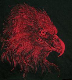 """""""Red eagle"""" Paulina Szczepaniak, 2015 Painting (textile paint) on fabric... :)  #red   #eagle   #fabricpainting"""
