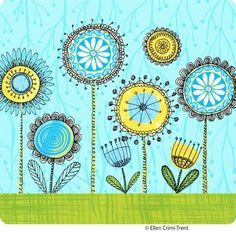 Funkysummerflower Folk Art Flowers, Flower Art, Simple Line Drawings, Easy Drawings, Scandinavian Folk Art, Spirograph, Ecole Art, Sampler Quilts, Doodle Designs