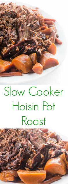Slow Cooker Hoisin Pot Roast- An Asian-inspired pot roast alongside tender vegetables. Crock Pot Slow Cooker, Slow Cooker Recipes, Crockpot Recipes, Cooking Recipes, What's Cooking, Freezer Recipes, Roast Recipes, Game Recipes, Savoury Recipes