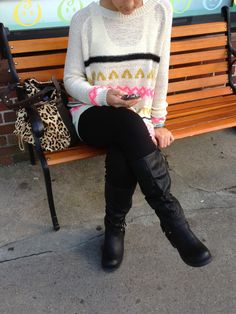 Fall fashions - ciao Bella style... Sweater, leggings, boots and bag now in store