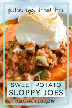 These oven-roasted sweet potato sloppy joes are simply the best! This main dish is healthy and fool-proof. They're allergy-friendly and stuffed with turkey and veggies. Not only that, but the recipe guides you step-by-step on how to bake PERFECT sweet potatoes with skin that easily peels right off. It makes a large serving that can even provide leftovers. #paleo #weightloss #glutenfree #baked #cleanfoods |diet| |whole 30| |meal prep| |skinny taste| |21 day fix| Whole 30 Recipes, Clean Recipes, Real Food Recipes, Healthy Recipes, Healthy Foods, Free Recipes, Healthy Eating, Oven Roasted Sweet Potatoes, Canned Tomato Sauce