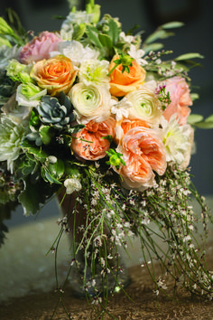 Mixed floral and greenery wedding bouquet at Park MGM Las Vegas. | Park MGM Las Vegas Wedding
