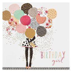 Buy Portfolio Balloon Girl Birthday Card Online at johnlewis.com