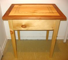 Table. Pyrography, pine and willow.