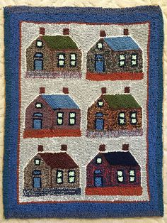 Primitive Hand Hooked Rug Made in rural Quebec Canada Big Comfy Chair, Carpet Mat, Hand Hooked Rugs, Primitive Folk Art, House Wall, Vintage Textiles, Rug Hooking, Quebec, Traditional Art