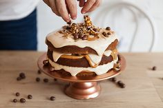 Layered peanut butter and caramel cake! Evil on a plate!