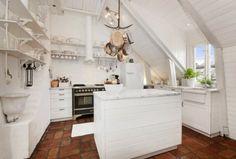 Dachgeschosswohnung kücheneinrichtung dachschräge deko ideen küche33