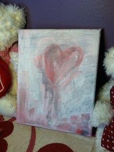 Pastel Pink Heart on white background Acrylic by elfWorksLane, $39.00