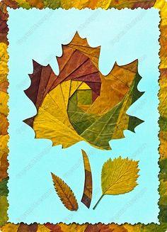 Kuru yapraklardan çok şık bir pano ya da duvar süsü yapabiliriz.