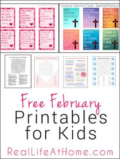 A collection of free February printables for kids to enjoy throughout the month, including printables for Valentine's Day, Presidents' Day, Lent, and More. Valentines Day Words, Valentines For Kids, Valentine Day Crafts, Valentine Ideas, Catholic Kids, Kids Church, Church Ideas, Catholic School, Valentine's Cards For Kids