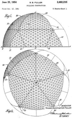 Public Domain      Geodesic Dome Patent 2,682,235 Drawing 1  First patent issued for a geodesic dome.  U.S. Pat. No. 2,682,235 was granted to Buckminster Fuller in 1954 for geodesic domes.