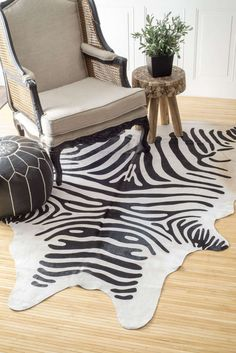 The silk screen zebra cowhide rug is a unique and beautiful hand-made piece that will bring elegance to your living room or bedroom. The prints have a tinge of shine giving it a metallic look besides being soft to touch and feel.