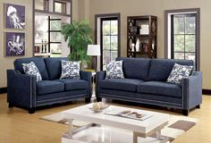 Kerian Blue Loveseat - CM6157BL-LV $390  Description :  Sleek design, flawless style and plush comfort are all wrapped into one amazing package with this stunning sofa set. Upholstered in a padded chenille fabric and accented by both nailhead and welting trim, this set is sure to be a show stopper. Structured track arms create a chic appeal while paired with printed accent pillows for perfect relaxation.  Features :  Contemporary Style Chenille Fabric Curved Track Arms Nailhead Trim