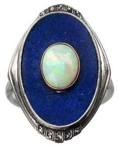 art deco lapis opal platinum ring