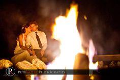 relaxing campfire wedding