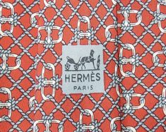 Hermes Tie Pure Twill Silk Chaine d'Ancre Rope Link Pattern On Brown Vintage Designer Dress Necktie Made In France 663 OA by InPersona on Etsy