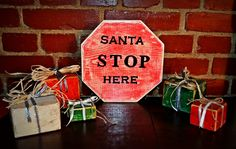 santa stop here wood wooden gifts prezenty z drewna kostki sosna block