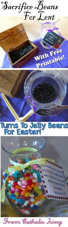Lenten Sacrifice Beans- how to use these with kids for Lent and Easter, plus some free printables! What a great Lenten activity to get kids in the right mindset for Lent.