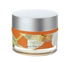 LCN Lemon Sugar Scrub- exfoliates, removes dead skin cells leaves skin toned and refined. http://babblebeautybar.ca/