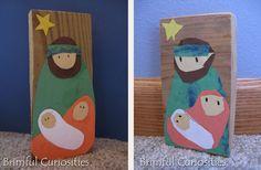 Jozef, Maria en baby Jezus kerst knutsel. Met template. // Simple Block Nativity Craft for Kids with template.