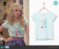 Liv's mint hummingbird tee on Liv and Maddie.  Outfit Details: http://wornontv.net/51846/ #LivandMaddie