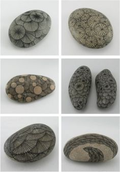 Drawings on stones. These remind me of Petoskey stones, fossilized coral found in Michigan. #Petoskey_Stones by Nana-Gaia