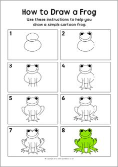 How to draw a frog instruction sheet.   -Repinned by Totetude.com