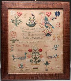 Lot: MARTHA BOSHELL, WALKER CO., ALABAMA, 1855 NEEDLEWORK, Lot Number: 0379, Starting Bid: $1,000, Auctioneer: Jeffrey S. Evans & Associates, Auction: Americana & Fine Antiques, Date: June 22nd, 2013 EDT