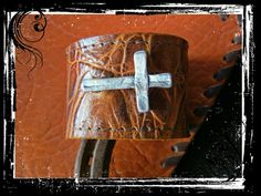 Brown Leather Cuff Bracelet with a Silver Cross by LivingFreeByEP, $34.00