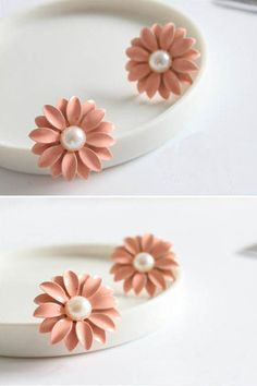 Pink Daisy Flower Pearls Ear Stud, #Wendybox