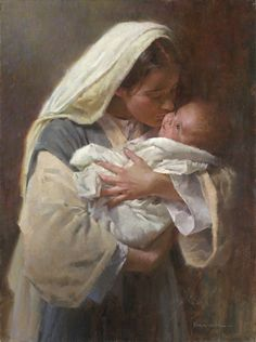 """Kissing the Face of God By Morgan Weistling -- """"'kissing the face of God,' which I heard in a song many years ago,"""" said the artist. """"I immediately thought of a composition with Mary and baby Jesus and how Mary had the privilege to hold God in the flesh in her arms. She cuddled and kissed him just as all mothers do with their babies. God chose to send his Son into this world in this amazing way — in pure humility."""""""