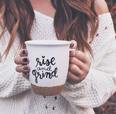 This Rise and Grind mug with a gold glitter bottom is perfect for the holidays! Use it for your morning coffee or afternoon tea either way youre