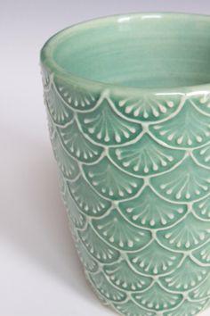 Porcelain Ceramic Mug with Slip Trailed Pattern in Green Glaze, Wheel Thrown…