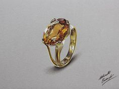 yellow topaz ring drawing by marcellobarenghi Colored Pencils Drawing by Marcello Barenghi 3 3 Pencil Drawing Pictures, Cool Pencil Drawings, 3d Drawings, Colorful Drawings, Hyperrealistic Drawing, Jewelry Design Drawing, Jewelry Illustration, Jewellery Sketches, Epic Art