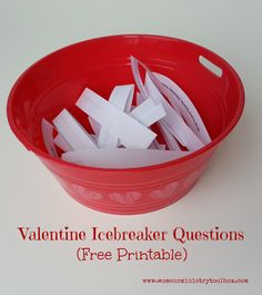 These Valentine Icebreaker Questions are perfect for: Women's Ministry Team Meeting Women's Ministry Fellowship Bible Study Group Small Group College Group Valentine Breakfast Sweetheart Banquet Valentine Party Print and cut them out (click the link below for the free PDF) and place them in a bag or bowl. Valentine Icebreaker Questions Haveeach participant to …