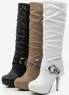 Plain Chunky High Heeled Round Toe Date Outdoor Knee High High Heels Boots - Mixed Shop High Heels Boots, Heeled Boots, Bootie Boots, Shoes Heels, Ankle Boots, Cute Boots, Sexy Boots, Me Too Shoes, Crazy Shoes