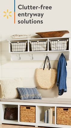 Make the entry into your home a peaceful one with a perfectly organized entryway Organized Entryway, Entryway Storage, Entryway Organization, Entryway Decor, Room Interior, Interior Design Living Room, Interior Livingroom, Wall Mounted Storage Shelves, Diy Home Decor