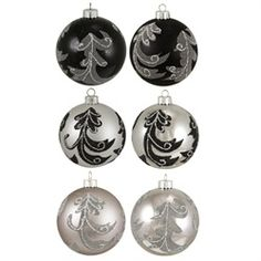 SAN ANTONIO SPURS TREE - 6ct Black and Silver Leaf Shatterproof Christmas Ball Ornaments 3.25