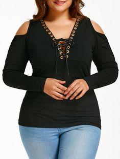 Plus Size Lace Up Cold Shoulder T-shirt, BLACK, XL in Plus Size T-shirts | DressLily.com