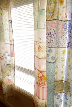 Sewing Curtains using Quilt Blocks 52 Quilt Block Pick Up / patchwork posse Patchwork Curtains, No Sew Curtains, Rod Pocket Curtains, Sheet Curtains, Bedroom Curtains, Curtain Panels, Old Sheets, Vintage Sheets, Vintage Linen