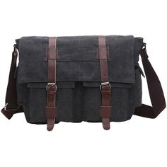 Amazon.com | Anlamb Men's Vintage Canvas Laptop Messenger Bag Casual School Bag Briefcase, AL8168 Black | Messenger Bags
