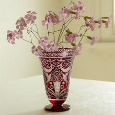 Medici Bohemian Glass Vase - hand engraved.