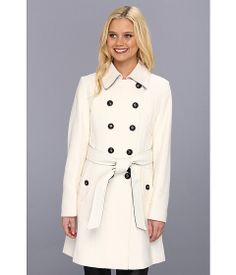 DKNY Color Block Trench 14200M-Y3 Winter White - 6pm.com