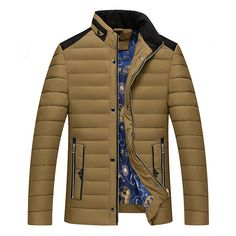 Mens Winter Stand Collar Thick Coat Fashion Casual Stitching Color Polyester Jacket at Banggood