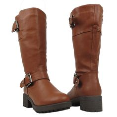 08a8ab3cd099 Womens Mid Calf Boots Leather Low Heel Adjustable Ankle Buckle Brown
