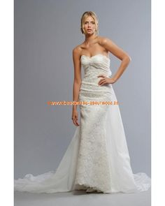 Schöne günstige Brautkleider aus Satin A-Linie mit Schleppe