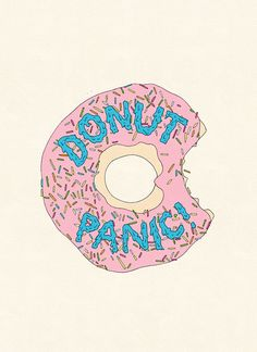 Donut Panic! Print - A4 Print - Typography Print - Pun - Illustration - Art Print on Etsy, $32.09